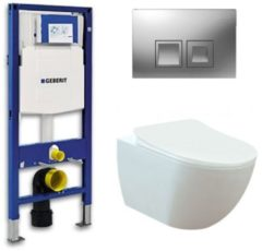 Douche Concurrent Geberit UP 100 toiletset - Inbouw WC Wandcloset - Creavit Mat Wit Rimfree Geberit Delta-50 Mat Chroom
