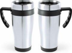 Carson 2x stuks rVS thermosbeker/warmhoud koffiebekers zwart 500 ml - Isoleerbekers/reisbekers