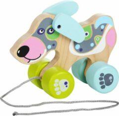 Blauwe Cubika houten trekfiguur hond
