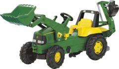Groene Rolly Toys Rolly Junior John Deere - Traptractor met Frontlader en Graafmachine