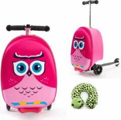 Fuchsia FDBW Handbagage kinderen | Tas Meisje | Roze Uil | Koffer Handbagage | Kinder Koffer Meisjes | Step Meisje | Trolley Kinderen - 50 kilo - 5 tot 9 jaar | Bouncy Box 40x20x25 cm incl. Nekkussen Vliegtuig