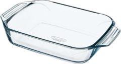 Transparante PYREX Rechthoekige glazen ovenschaal 4 liter 39 x 26 x 6,5 cm - Ovenschotel schalen - Bakvorm