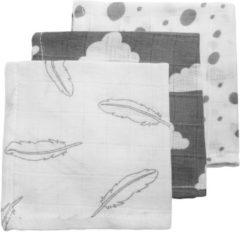 Meyco 3-pack hydrofiele monddoekjes - Feathers-Clouds-Dots - grijs/wit