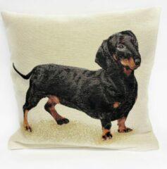 Bruine Emme Kussenhoes - Teckel - Dachshund - Hond - Pickels 2 - Gobelin - Hondjes