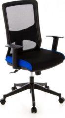 Hjh office Bureaustoel - Verstelbare Armleuning - Stof - Zwart/Blauw - Ergonomisch