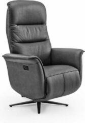 Antraciet-grijze Duverger® Dreamline - Relaxfauteuil - antraciet - microleder - elektrisch verstelbaar - met batterij - Afm: 66 cm