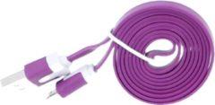 Qatrixx Micro USB Kabel Datacable 1 meter Universeel Paars Purple