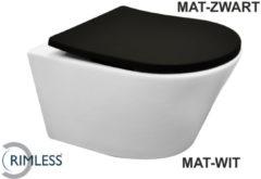 Douche Concurrent Toiletpot Hangend Wiesbaden Vesta 52 cm Diepspoel Wandcloset Rimless Mat Wit Met Mat Zwart Shade Zitting