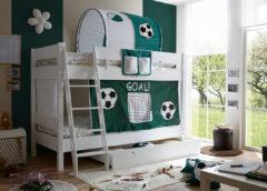 Etagenbett KENNY G Schrägleiter, Buche massiv, weiß lackiert, Goal, 90 x 200 cm