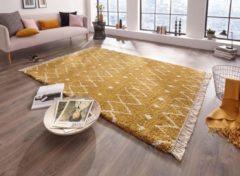 Tapeso Hoogpolig vloerkleed Calla - goud/crème 80x200 cm