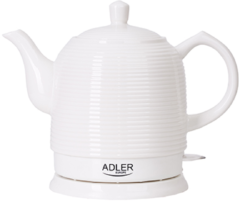 Adler AD 1280 Kettle, Electric, Power 1500 W, Capacity 1.2 L, Ceramic, White