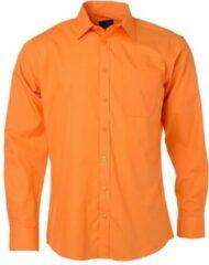James & Nicholson James and Nicholson Heren Longsleeve Poplin Shirt (Oranje)