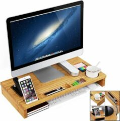 Decopatent® 2 in 1 Monitorstandaard van bamboe hout - Monitor - Laptop beeldscherm verhoger - Monitorverhoger standaard