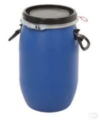 Binqer Kunststof vat 30 liter blauw met klemdeksel
