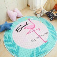 AYME Zacht Speelkleed Baby | Speelkleed Kinderen | Diameter 150cm | 100% Katoen | Baby- of Kinderkamer | Flamingo