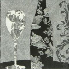 Grijze Ti- Flair Ti Flair - Servetten - Black Diner Wine - servetten - napkins -33 x 33 cm