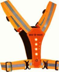 Oranje Bee Seen – ORANGE Harness USB - Verlichting - Led Harness - USB - LED - one size - Hardloopvest - Jogging reflectie vest - Hardloopverlichting