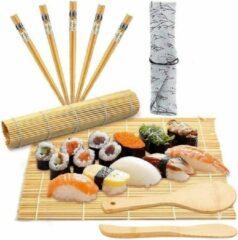 KAMUS Sushi Kit Matjes,Sushimaker Bamboe, Sushi Kit Bamboe-Incl. 5 paar Chopsticks,1 rijstlepel en 1 rijstverspreider -Japanese Sushi maken,Heel Prachtige product als voor verjaardag Cadeau