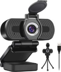 Takmach Professionele webcam Full HD 1080p met Gratis statief & cover - Autofocus - Microfoon - USB voor alle PCs - leesgeven-Gamen-vergadering-Windows & Mac - Zwart.