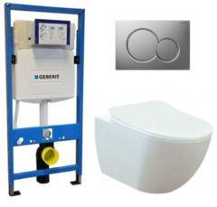 Douche Concurrent Geberit UP 320 Toiletset - Inbouw WC Hangtoilet Wandcloset - Creavit Mat Wit Rimfree Geberit Sigma-01 Mat Chroom