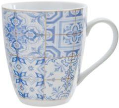 Cosy&Trendy Cosy & Trendy Tile Blue Beker - Ø 8.5 cm x 9.5 cm - Set-6