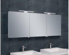 Saqu Practico Spiegelkast met LED verlichting 160x60x14 cm wit