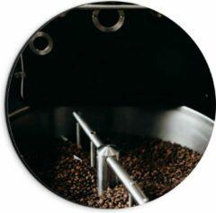Grijze KuijsFotoprint Dibond Wandcirkel - Koffiebonenmachine - 20x20cm Foto op Aluminium Wandcirkel (met ophangsysteem)