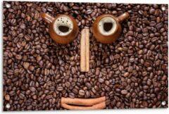 Beige KuijsFotoprint Tuinposter – Smiley in Koffiebonen - 90x60cm Foto op Tuinposter (wanddecoratie voor buiten en binnen)