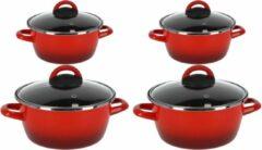 Gerim Kookpannen set van 4x stuks rood 3 liter en 8 liter Cuenca - Rvs pannenset