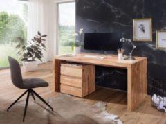 Wohnling Schreibtisch BOHA Massiv-Holz Akazie Computertisch 120 cm breit Echtholz Design Ablage Büro-Tisch Landhaus-Stil