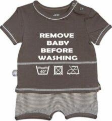 Tromper Romper korte mouwen - Remove baby taupe 74/80
