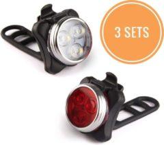 Rydon Fietslamp SET - USB - Oplaadbaar - Zwart - Waterdicht ( 3 sets! )