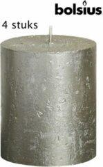 Zilveren 4 stuks stompkaars rustiek HxØ 80x68mm tot 30 uur champagne - Bolsius