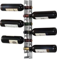 Zilveren En.casa Wijnrek Pfalz voor 6 flessen wandmontage 55x5x7 cm