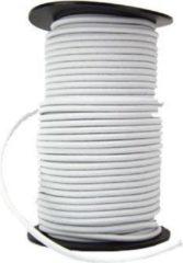 ABC-Led 50 meter Elastisch Touw - 6 mm - WIT - elastiek op rol