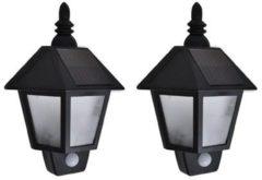 VidaXL Solar-wandlampen 2 st met bewegingsensor zwart