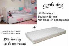 Lilli Furniture - Emma bedbank met uitschuifbaar logeerbed en 2 lades - inclusief 2 koudschuim matrassen - 90x200cm en 90x190cm - inclusief 2 lattenbodems - wit