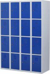 Povag Lockerkast metaal met slot - 16 deurs 4 delig - Grijs/blauw - 180x120x50 cm - LKP-1016