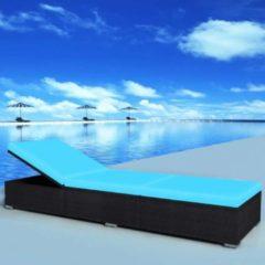 VidaXL Ligbed 195x60x31 cm poly rattan zwart en blauw