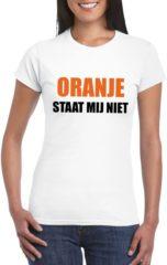 Zwarte Bellatio Decorations Oranje staat mij niet t-shirt wit dames L