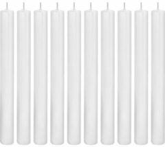 Trend Candles 10x Witte dinerkaarsen 25 cm 14 branduren - Geurloze kaarsen - Rechte tafelkaarsen/kandelaarkaarsen