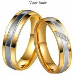 Zoëies® goudkleurige liefdesring voor haar met steentjes 16 mm