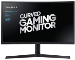 Zwarte Samsung LC24FG73FQUXEN 24 inch curved QLED gaming monitor