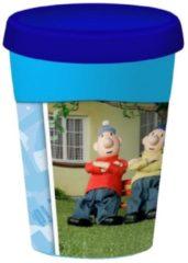 Blauwe Snoepkado.com Buurman en buurman Schoolbeker, in cadeauverpakking met gekleurd lint