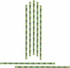 Groene Merkloos / Sans marque 48x Papieren rietjes met bamboe dessin - drinkrietjes