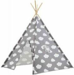Lucy's Living Luxe Tipi Tent WOLKJE grijs - 120 x 120 x 150 cm - wigwam speeltent - tipi tent kinderen - speeltent kinderen - jongens en meisjes - speelgoed