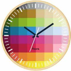 Bruine Fisura Wandklok Pixel 30 Cm Glas/hout Beige
