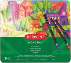 Derwent kleurpotlood Academy , blik van 24 stuks in geassorteerde kleuren