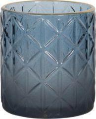 Clayre & Eef Glazen Theelichthouder 6GL2917S Ø 7*8 cm - Blauw Glas Waxinelichthouder Windlichthouder
