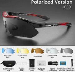 Rockbros - Gepolariseerde Fietsbril - Sportbril - Inclusief 5 verwisselbare lenzen + draagtas met accesoiressen - ROOD